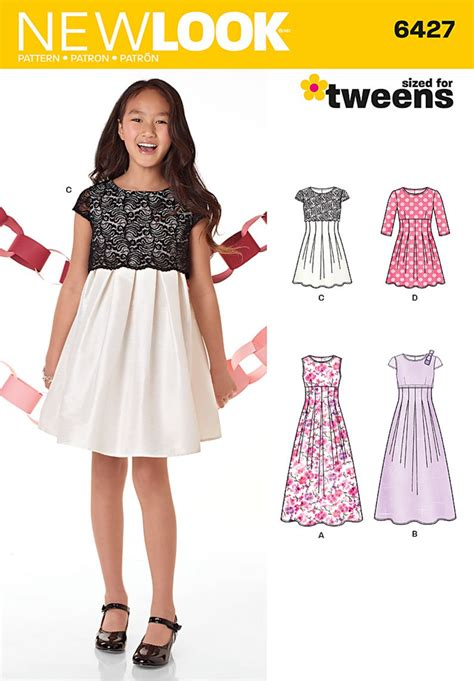 dress pattern of 2015 new look 6427 girls dresses and gowns