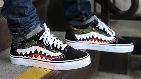 Sepatu Vans X Bape custom bape shark vans on
