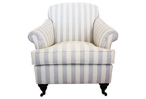 blue and white striped club chair joplin striped club chair blue