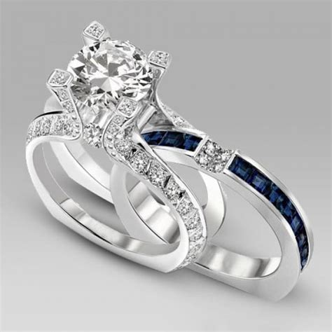 white and blue cubic zirconia 925 sterling silver 18k