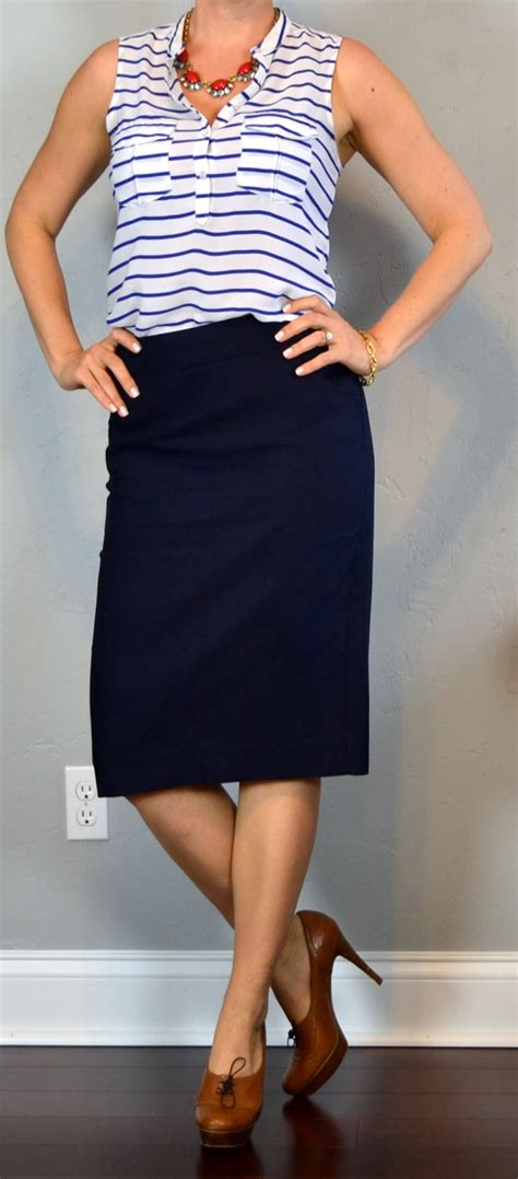 outfit post striped sleeveless blouse navy pencil skirt brown loafer pumps