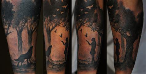 quarter sleeve forest tattoo forest sleeve by strangeris on deviantart
