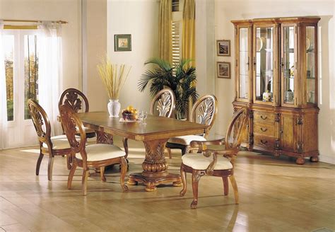 solid wood formal dining room sets coronado oak finish solid wood double pedestal formal