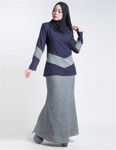 Baju Kurung Moden Pendek Terkini kurung moden pendek navy blue aimie3 baju kurung moden terkini 2017