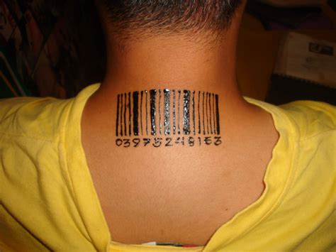 bar tattoo pin bar code on neckjpg on