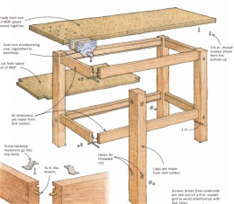 sturdy work bench homemade woodworker s sturdy workbench homemadetools net