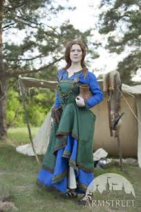 ancient viking dress and apron quot ingrid the hearthkeeper quot available in green flax linen blue
