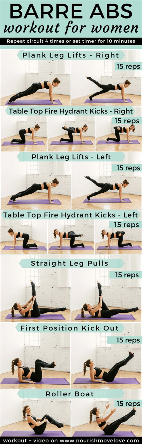 10 minute barre workout abs nourish move