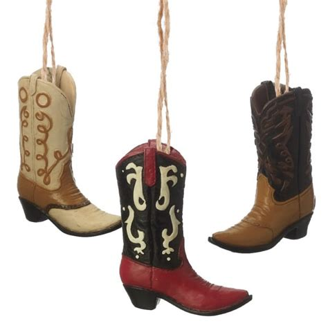 cowboy boot christmas ornaments set of 3