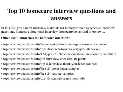 top 10 homecare questions and answers