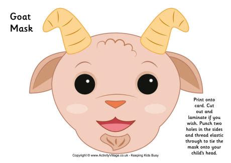 printable mask goat goat mask printable great for very young kids and short