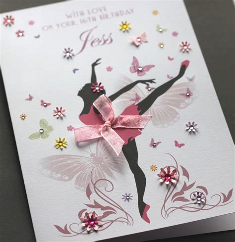 large a5 handmade personalised ballerina birthday card