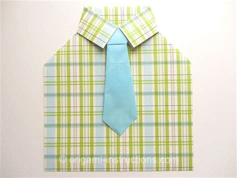 How To Make A Paper Shirt And Tie Card - origami tie folding