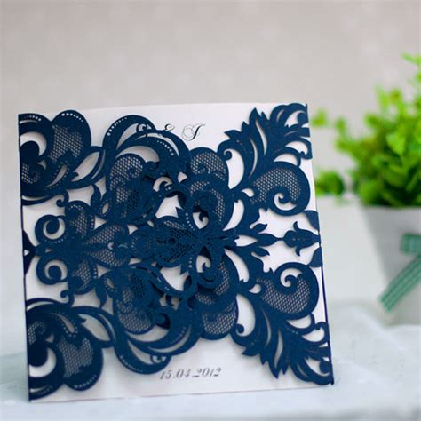 Wedding Shower Favor Bags by Navy Blue Laser Cut Pocket Wedding Invitations Ewws032 As