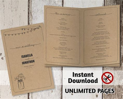 Printable Wedding Ceremony Book Template Unlimited Pages Multi Page Folded Program Booklet Program Booklet Template