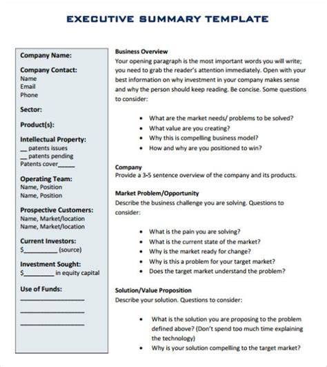 executive summary template word free executive summary template word doc ppt calendar