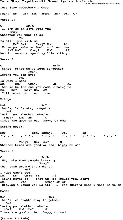 sweet home alabama testo song lyrics for lets stay together al green with chords