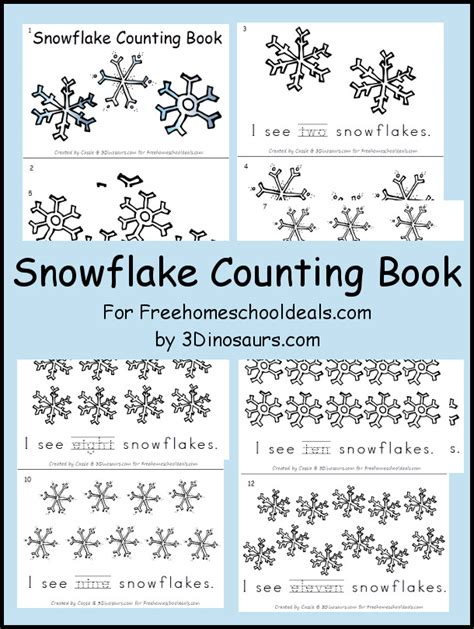 printable books about snowflakes free snowflake counting book instant download free