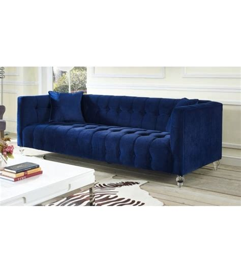 blue velvet tufted sofa blue velvet button tufted sofa acrylic legs