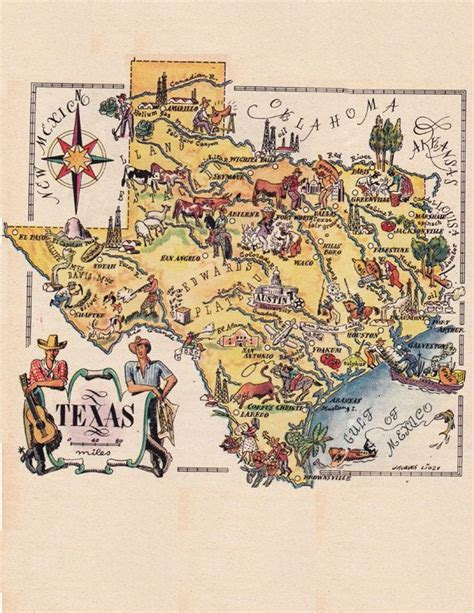 antique maps of texas map of texas from the 1940 s by artist jacques liozu digital sheet 1232