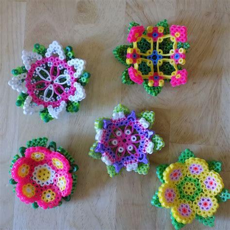 flower perler set of 5 3d flowers perler by auntiebooscrafties