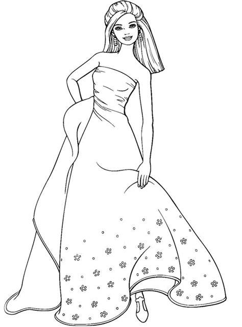 coloring page  barbie girl wearing long dress