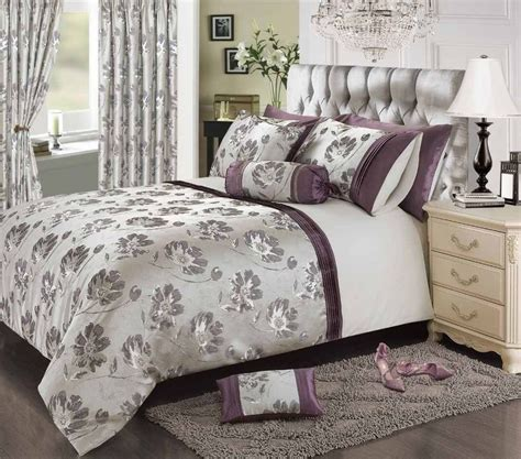 Plum Mauve Stylish Floral Jacquard Duvet Cover Luxury Stylish Bed Sets