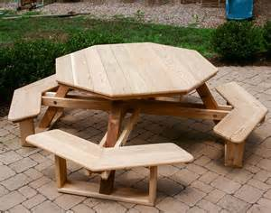Plans For Octagon Picnic Tables Free by Red Cedar Octagon Walk In Picnic Table