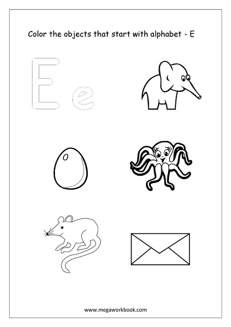 color that begins with e alphabet picture coloring pages things that start with
