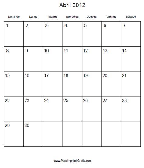 Calendario Abril 2012 Calendario Abril 2012 Para Imprimir Gratis