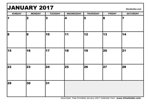 blank printable calendar template 2017 blank january 2017 calendar in printable format