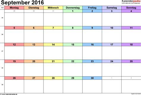Calendar 2016 September Kalender September 2016 Als Pdf Vorlagen