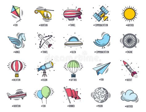 travel doodle free vector aviation and travel doodle icon set stock vector image