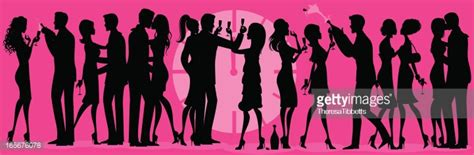 cocktail party silhouette new years eve party silhouette vector art getty images