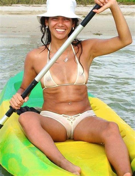 see hair through bathing suit tikini beach bar girl kayaking in a see through bikini
