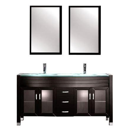 Glass Vanity Tops Kokols Amriel 63 In Vanity In Espresso With Tempered Glass Vanity Top In Aqua And Mirror