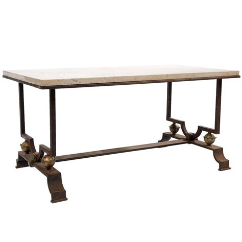 wrought iron coffee table by quinet and poillerat for sale