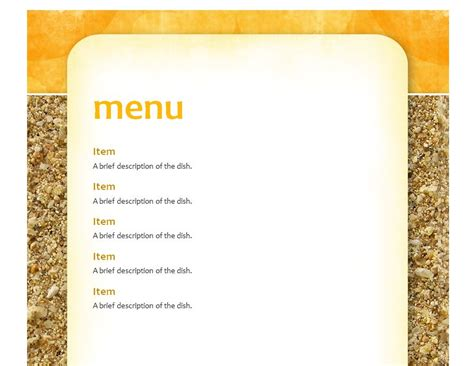 School Lunch Menu Template School Menu Template Free School Menu Templates