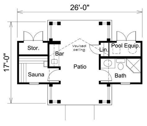 small pool house floor plans poolhouse plan 95941 at familyhomeplans com