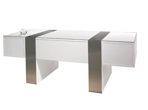 Sh01 White Lacquer Desk Executive Modern White Desks