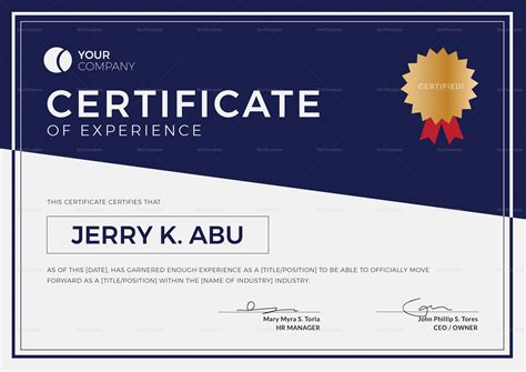 experience certificate templates experience certificate design template in psd word
