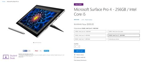 surface pro 4 models given huge discounts on amazon on msft microsoft is slashing 200 off its surface pro 4 model