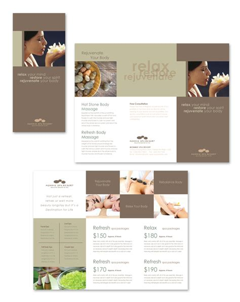 free templates for spa brochures wellness spa resort tri fold brochure template salon