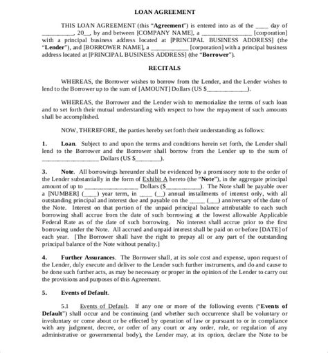 commercial loan agreement template loan agreement template 11 free word pdf documents