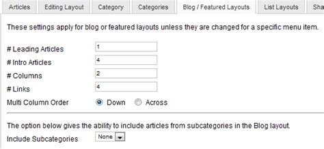 joomla blog layout number of articles help25 content article manager options joomla documentation