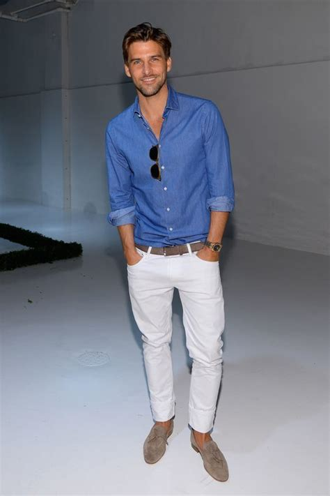 picture of a chambray shirt white grey suede shoes