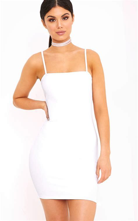 white dress white dresses prettylittlething