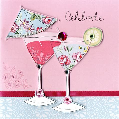 birthday cocktail embellished cocktail celebrate birthday card handfinished
