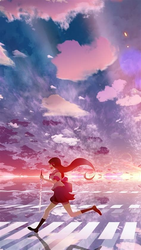 wallpaper anime samsung download wallpaper 720x1280 girl anime sky running