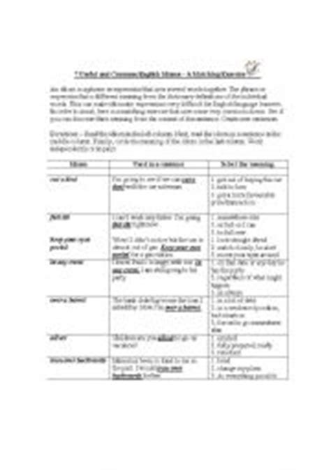 everyday use worksheet 7 useful and common idioms expressions for everyday use exercise and answer key